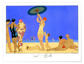 Poster Premium  At the Lido, engraved by Henri Reidel, 1920 - Georges Barbier