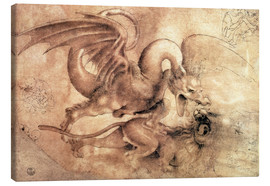 Stampa su tela  Fight between a Dragon and a Lion - Leonardo da Vinci