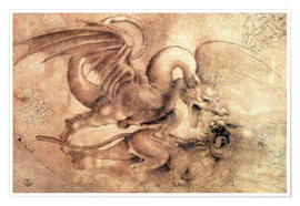 Poster  Fight between a Dragon and a Lion - Leonardo da Vinci