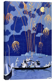 Stampa su tela  Fireworks in Venice, Fetes Galantes - Georges Barbier