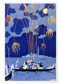 Poster Premium  Fireworks in Venice, Fetes Galantes - Georges Barbier
