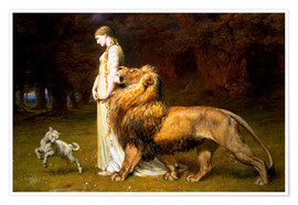 Poster  Una and the Lion, from Spenser's Faerie Queene - Briton Riviere