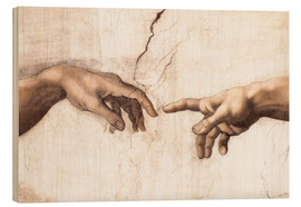 Legno  Sistin. Chapel: Creation of Adam, detail of hands - Michelangelo