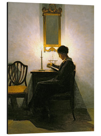 Stampa su alluminio  Woman reading by candlelight - Peter Vilhelm Ilsted