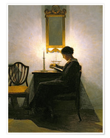 Poster Woman reading by candlelight