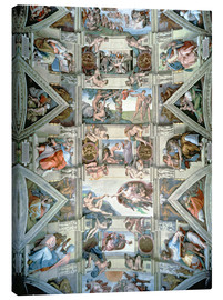 Stampa su tela  Sistine Chapel ceiling and lunettes - Michelangelo