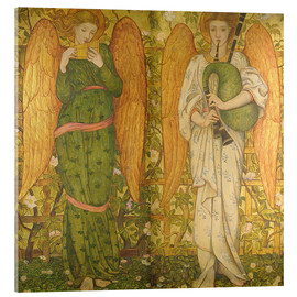 Stampa su vetro acrilico  Angels with Pan Pipes and Bagpipes - John Roddam Spencer Stanhope
