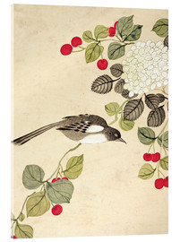 Vetro acrilico  One of a series of paintings of birds and fruit, late 19th century - Wang Guochen