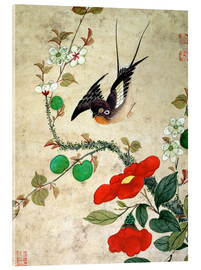 Stampa su vetro acrilico  Bird and apples - Wang Guochen