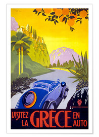 Poster Premium  Visit Greece with car - Travel Collection