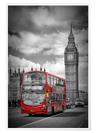 Poster Premium  LONDON Red Bus and Big Ben - Melanie Viola