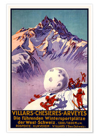 Poster Premium  Winter Sports in Villars, Chesieres and Arveyes - Travel Collection