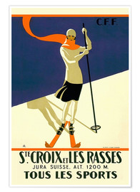 Poster Premium  Skiing in Sainte-Croix - Travel Collection