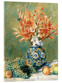 Stampa su vetro acrilico  Still Life with Fruit and Flowers - Pierre-Auguste Renoir