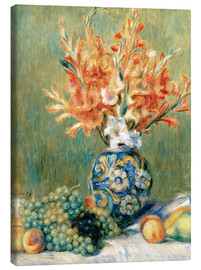 Stampa su tela  Still Life with Fruit and Flowers - Pierre-Auguste Renoir