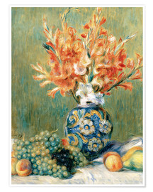 Poster Premium  Still Life with Fruit and Flowers - Pierre-Auguste Renoir
