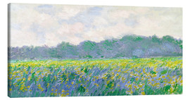 Stampa su tela  Field of Yellow Irises in Giverny - Claude Monet
