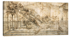 Stampa su tela  Perspective Study for the background of the Adoration of the Magi - Leonardo da Vinci
