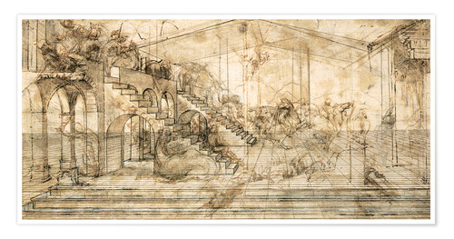 Poster Premium Perspective Study for the background of the Adoration of the Magi