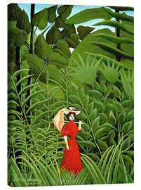 Stampa su tela  Woman in red in forest - Henri Rousseau