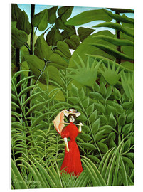 Stampa su PVC  Woman in red in forest - Henri Rousseau