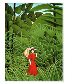 Poster Premium Woman in red in forest
