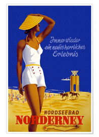 Poster Premium  Bagno nel Mare del Nord a Norderney - Travel Collection