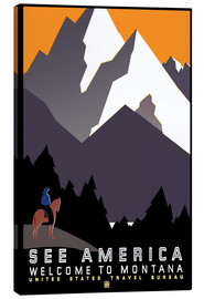 Stampa su tela  See America - Welcome to Montana - Travel Collection