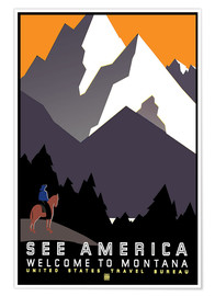 Poster Premium  See America - Welcome to Montana - Travel Collection