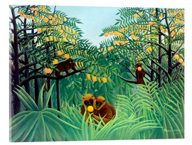 Vetro acrilico  Monkey in the jungle - Henri Rousseau