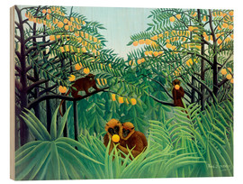 Legno  Monkey in the jungle - Henri Rousseau