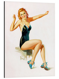 Stampa su alluminio  Pin Up - Seated Redhead in Swimsuit - Al Buell