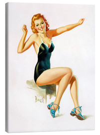 Stampa su tela  Pin Up - Seated Redhead in Swimsuit - Al Buell
