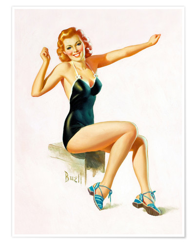 Poster Premium Pin Up - Seated Redhead in Swimsuit
