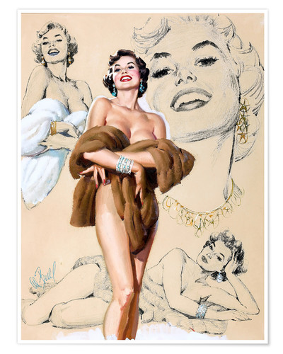 Poster Premium Glamour Pin Up study