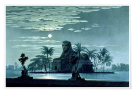 Poster Premium Garden scene with the Sphinx in the moonlight