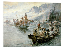 Stampa su PVC  Lewis e Clark sul basso Columbia River, 1905 - Charles Marion Russell