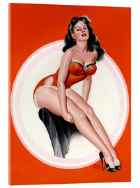 Stampa su vetro acrilico  Brunette in Red Bathing Suit - Peter Driben
