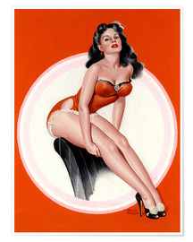 Poster Premium  Brunette in Red Bathing Suit - Peter Driben
