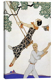 Stampa su tela  The Swing, 1920s - Georges Barbier