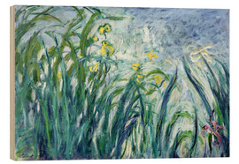 Stampa su legno  Yellow and Purple Irises - Claude Monet