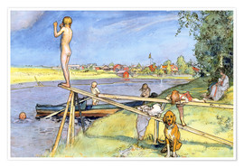 Poster Premium  A Pleasant Bathing Place - Carl Larsson