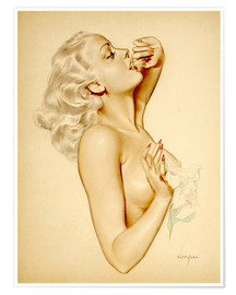 Poster Premium  Girl with a Flower - Alberto Vargas