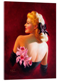 Stampa su vetro acrilico  Glamour Pin Up with Pink Orchids - Art Frahm