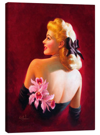 Tela  Glamour Pin Up with Pink Orchids - Art Frahm