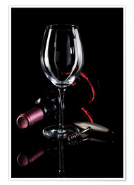 Poster Premium Wine, glass and corkscrew III
