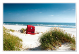 Poster Premium Red beach chair in dunes
