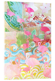 Stampa su vetro acrilico  Flamingo Collage - GreenNest