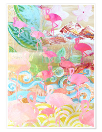 Poster  Flamingo Collage - GreenNest