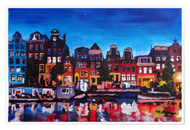 Poster Premium  Amsterdam Channel at Night - M. Bleichner
